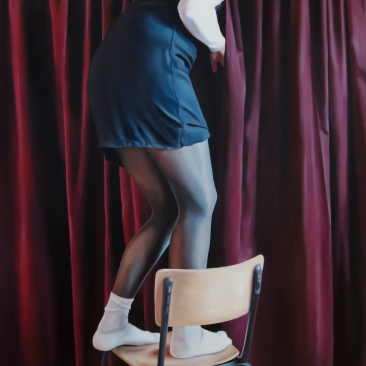 Hidden door (red drapery) 100 x 120 cm Oil on canvas 2019